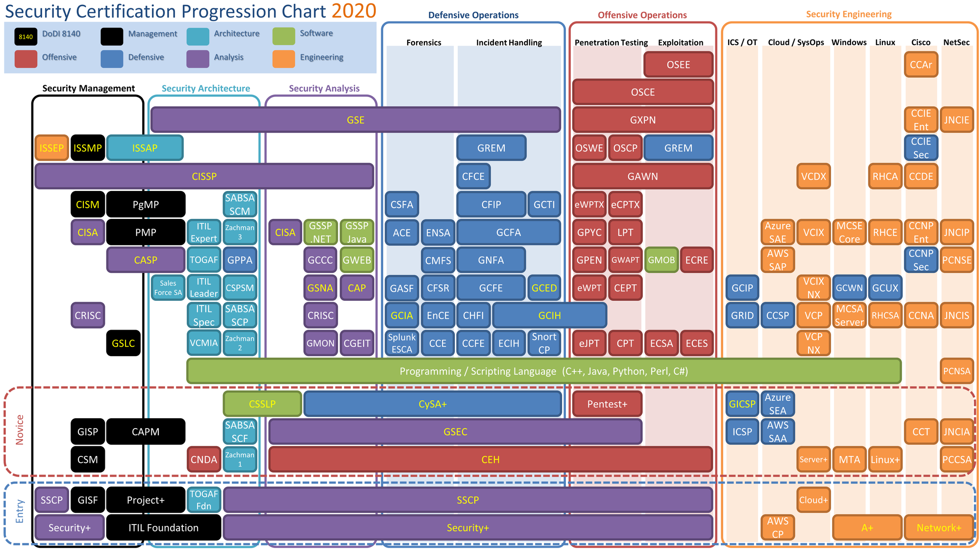 Security Certification Progression Chart 2020
